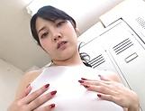 Japanese AV Model plays with toys in both her holes