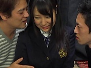 Hayama Miku, featured in a lovely foursome action