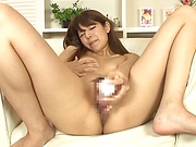 Smoking hot darling Reina Hashimoto working her muff solo