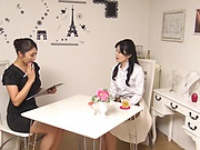 Hot Asian beauty in raunchy lesbian fuck indoors