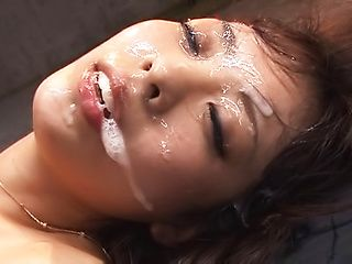 Nasty Asian minx Fujii Arisa gets bukkake delights