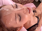Okazaki Emiri gets her pretty face filled with a creamy load