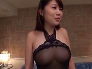 Nasty Asian honey Kirishima Sakura gets bukkake gangbang