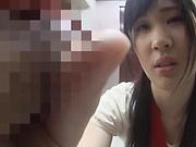 Hot Asian babe Saitou Miyu gives an arousing blowjob