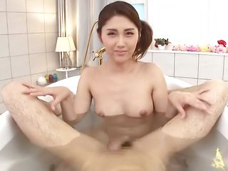 Alluring Chitose Hara chokes and gags sucking cock