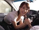 Hot amateur Ayami Shunka gives a hot car blowjob