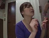 Hot milf Saitoui Miyu in raunchy glory hole session indoors