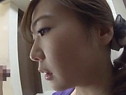 Saitoui Miyu enjoys  delivering sensual hand job indoors