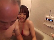 Bikini hottie getting freaky with her mature stud