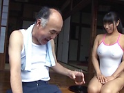 Lip smacking Nozomi Mikimoto awesome body caressing