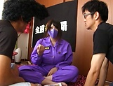 Busty Amayoshi Shizuku has cream on her stretched beaver picture 3