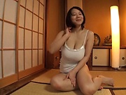 Amateur Asian babe Kaho Shibuya in raunchy solo action