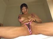 Busty Nozomi Mikimoto masturbates with dildo