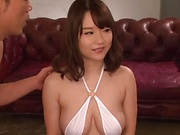 Rena Momozono performs an erotic double blowjob