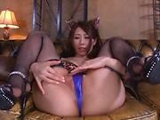 Ayumi Shinoda, gets naughty on a stiff dildo