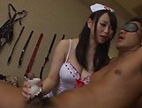 Hot Japanese milf in a sexy nurse uniform takes a hard banging picture 13