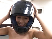 Amazing young girl in a helmet Ayami Shunka enjoys hot dick