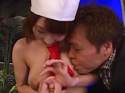 Hot cosplay diva Ayami Shunka enjoys a steamy tit caress