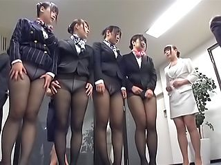 Sweet office ladies engaged in work place gang bang
