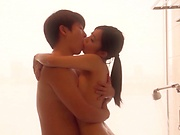 Gorgeous Asian babe gets freaky while in the shower