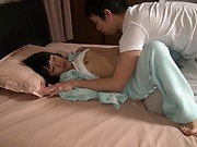 Tiny tits Aoi Ichigo passionately blows a hard pole