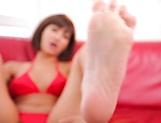 Aso Nozomi crazy Japanese foot fetish porn play