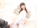 Naughty Asian model Rena Aoi in hardcore threesome action picture 15