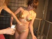 Sexy bikini babe gets her oily cunt filled with a big dick