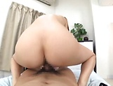 Naughty Asian milf wildly rides on a huge ramrod indoors