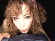 Curly haired Japanese hottie in kinky POV blowjob scene
