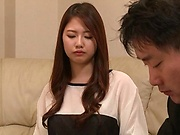 Hot Japanese chick Hagane Koino in action sucking cock