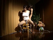 Mizuna Wakatsuki fucked with toys and made to swallow