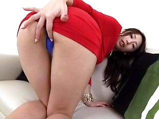 Hot vixen in red rides thick dildo in solo action