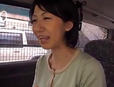 Fiery JApanese AV model fucked hard with a dildo in the back of a car picture 13