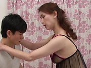 Alluring Midou Kanase gets her face filled with a creamy load