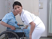 Sweet nurse performs an enthusiastic blowjob