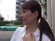 Half naked nurse enjoys solo masturbation at work
