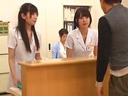 Wild nurse fully pleasured in a cute threesome action