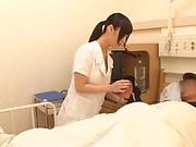 Sexy nurse gags on a thick schlong