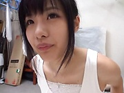 Pretty Japanese college chick in kinky wild sex
