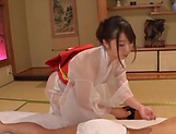 Hot Japanese lady Saki Hatsumi gives sensational handjob picture 14