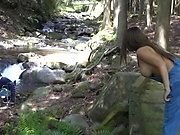 Busty bimbo and dude in wild outdoor fucking