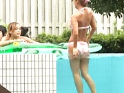 Hot Asian models enjoying a hot gangbang with one guy