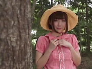 Sakura Kizuna fucked in the woods by two males