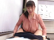 Alluring Asian mature with big tits in kinky titty fuck scene