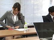 Office lady enjoying some intense stand fucking
