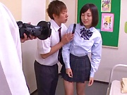 Hardcore schoolgirl Umi Hirose creampied by hunk