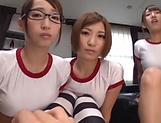 Sexy Asian babes gang bang a big dick dude picture 8