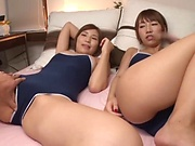 Horny Asian babes share on large throbbing cock