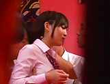 Naughty Umi Hirose in school uniform gets cream pie